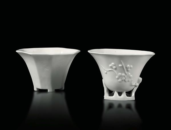 Two drinking cups in Blanc de Chine porcelain, China Qing dynasty, 18th century