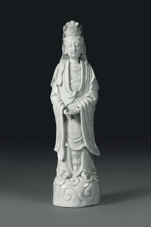 A standing Guanyin in Blanc de Chine porcelain, China, Qing dynasty, 19th century