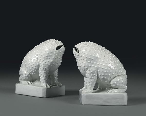 A pair of toads in Blanc de Chine porcelain, China, 20th century