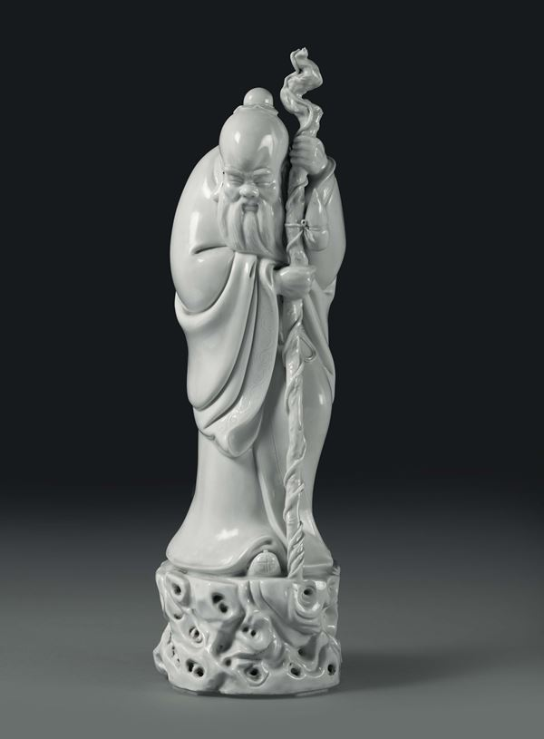 A wiseman in Blanc de Chine porcelain, China, 20th century