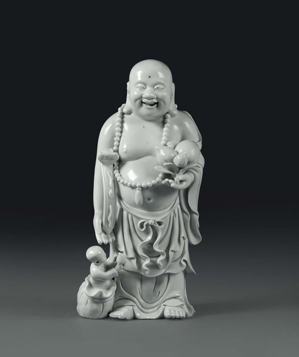 A wise man with necklace in Blanc de Chine porcelain, China, 20th century