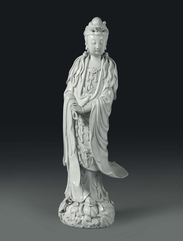 A Guanyin in Blanc de Chine porcelain, China, Qing dynasty, 19th century