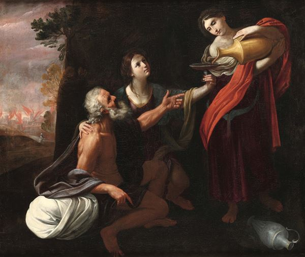 Lot and the daughters. Bologna school of the 17th century Lot e le figlie