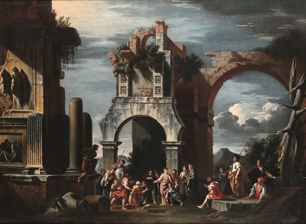 Architectures with figures. Giovanni Ghisolfi (Milan 1623 - 1683) Architetture con figure