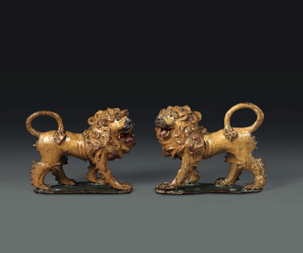 A pair of lions in carved polychrome wood, Veneto 17th century