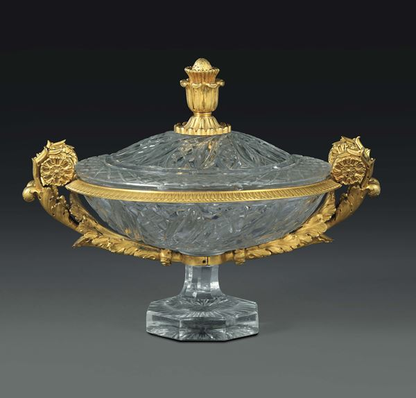 A crystal and gilt bronze bowl, France 19th century