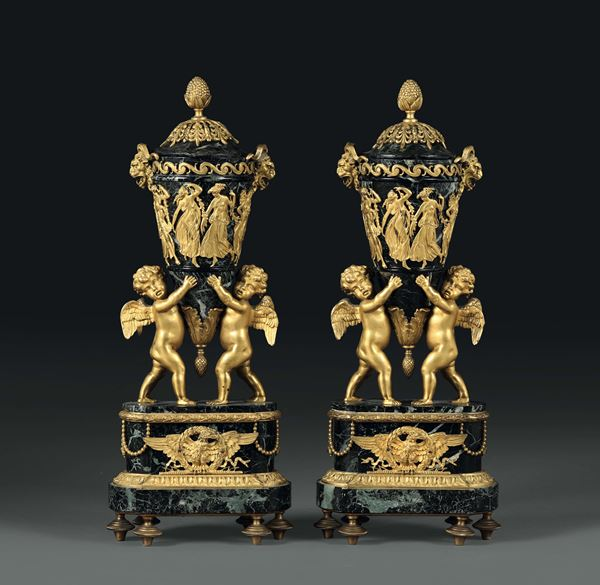 A pair of vases in green marble and gilt bronze, France 19th century