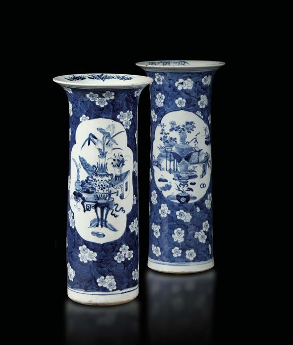 A pair of porcelain trumpet vases, China 19th century