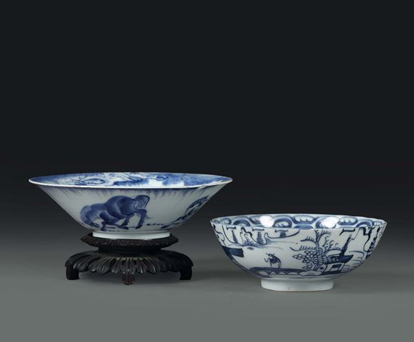 Two bowls in white and blue porcelain, China, Qing dynasty, 18th century