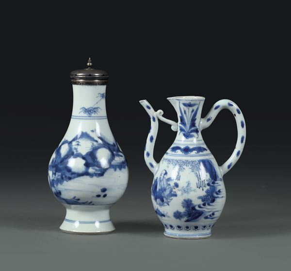 A vase and a pitcher in white and blue porcelain, China Qing dynasty, 18th century
