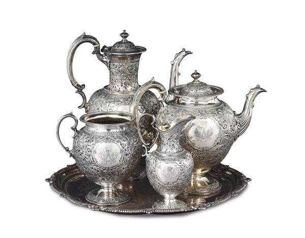 A set in silver-plated metal, England 20th century