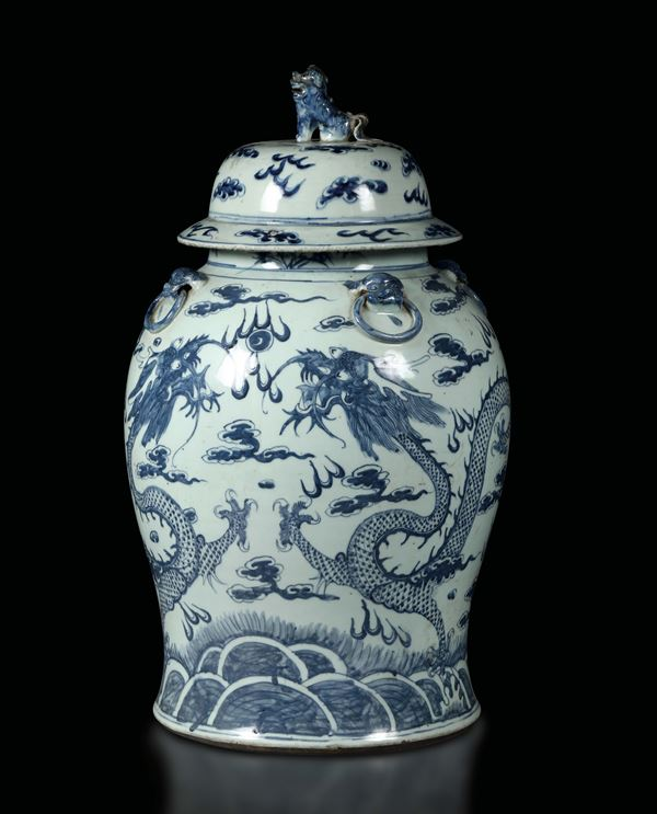 A large vase in white and blue porcelain with dragons, China, Qing dynasty, 19th century