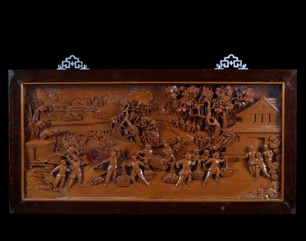 A carved wood panel depicting the start of the Great Proletarian Cultural Revolution, China, 20th cen [..]