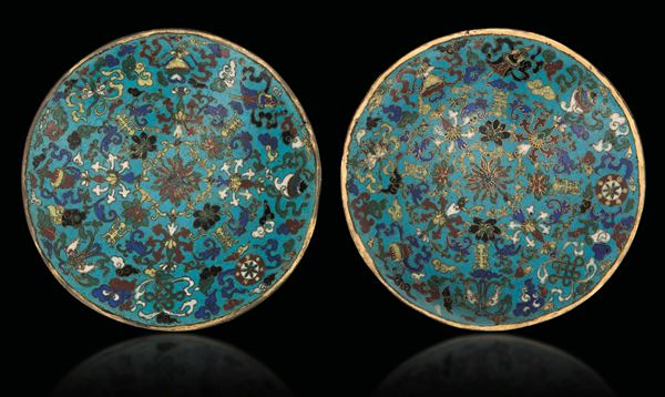 A pair of cloisonné enamel dishes, China, Qing Dynasty, Qianlong Period (1736-1795)