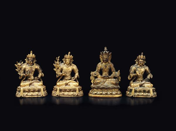 Four small gilt bronze figures of Vajrapani on double lotus flowers, China, Qing Dynasty, Qianlong Period (1736-1795)