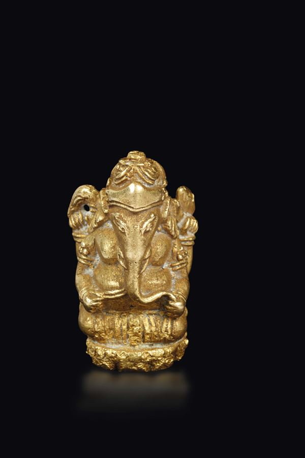 A small gold figure of Ganesh, Nepal, 18th century