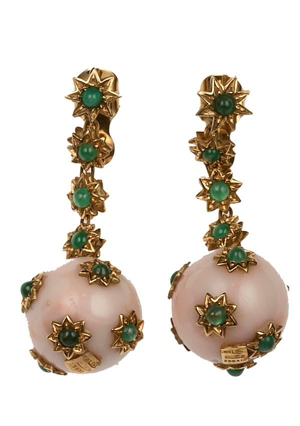 Pair of coral and emerald pendent earrings
