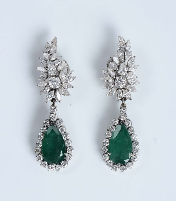 Pair of emerald and diamond pendent earrings