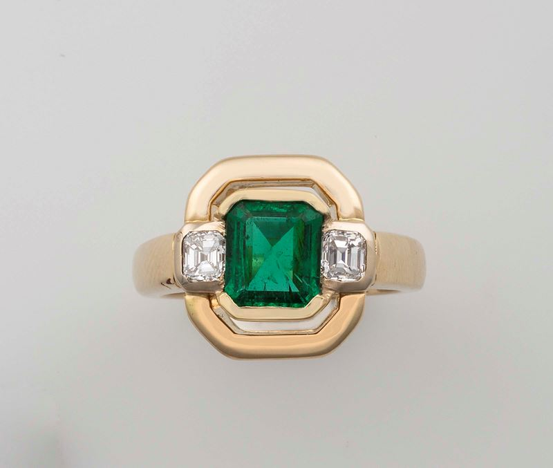 Emerald and diamonds ring  - Auction Fine Jewels - Cambi Casa d'Aste