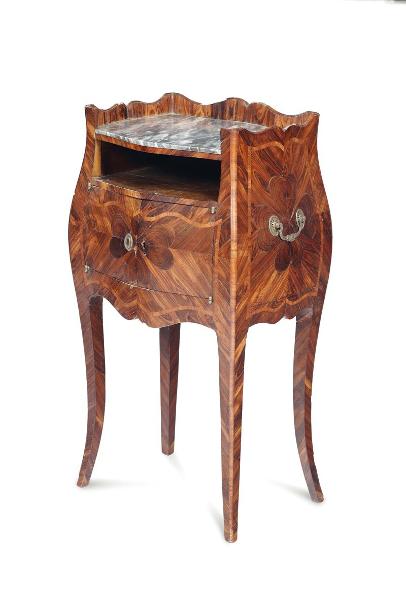 A nightstand, veneered and inlaid with a four-leaf clover decor, Genoa half of the 18th century  - Auction Important Artworks and Furnitures - Cambi Casa d'Aste