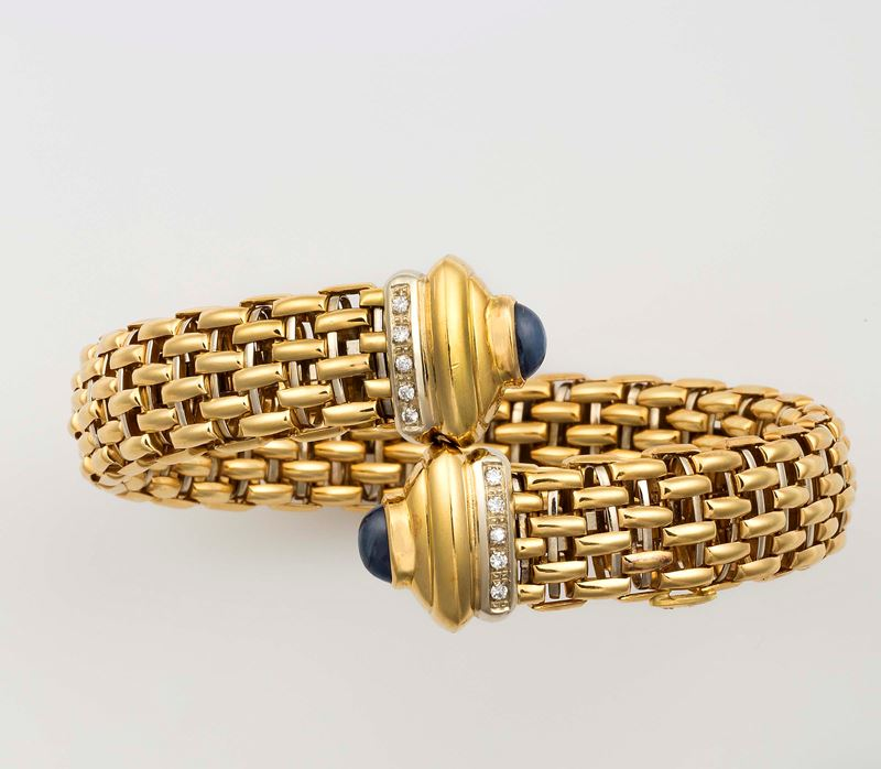 Sapphire, diamond and gold bangle. Fope  - Auction Fine Jewels - Cambi Casa d'Aste