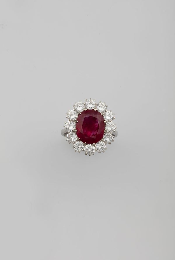 Burmese ruby weighing 6.18 carats, with no indications of heating