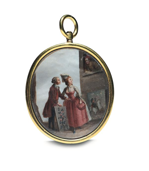 An oval silver pendant with a miniature, 1700s