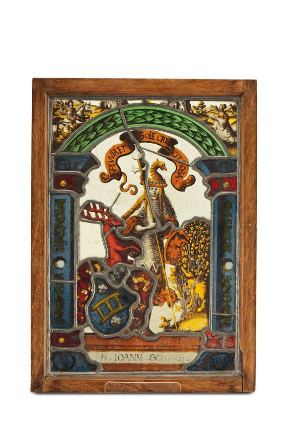 A glass pane in polychrome blown glass, Germany 16th century