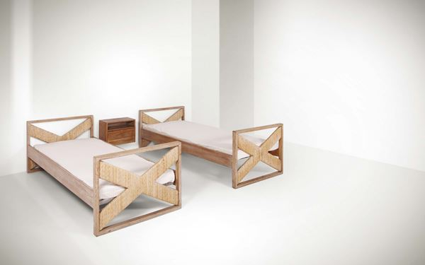 Franco Albini, two beds with wooden structures. Details in metal and raffia. A wall-mounted nightstand in wood. Italy, 1940 ca. Bed: cm 94x71x211; Nightstand: cm 50x37x25