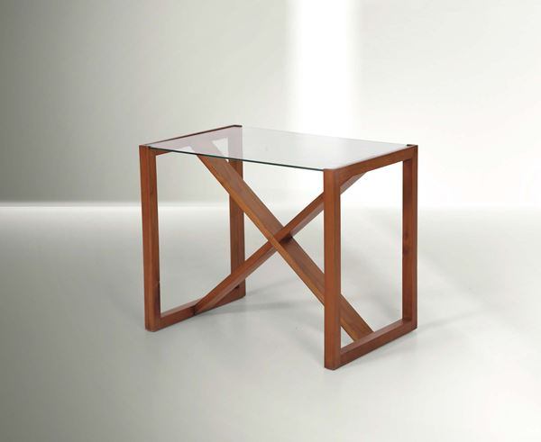 Franco Albini, a low table with a wooden structure and glass top. Italy, 1940 ca. cm 60x50x40