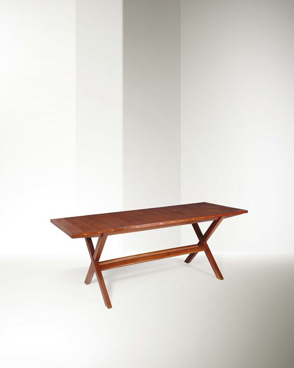 Franco Albini, a dining room table with a wooden structure and metal details. Italy, 1940 ca., 200x75 [..]