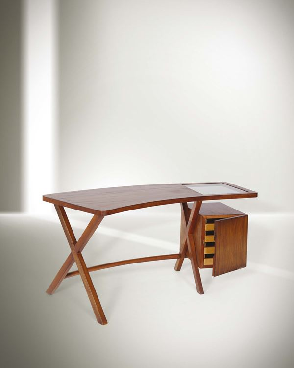 Franco Albini, a desk with wooden structure and glass top. Italy, 1940 ca. cm 65x76x143