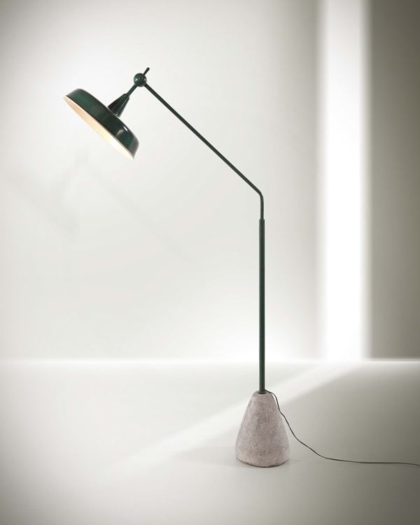 Franco Albini, a floor lamp with a lacquered metal structure and a stone base. Italy, 1940 ca. cm 175x90
