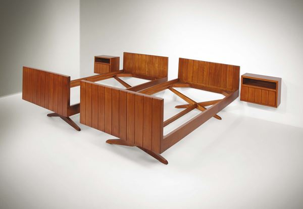 Franco Albini, a pair of beds with two nightstands. Wooden structure. Italy, 1940 ca. Bed: cm 108x76x212; Nightstands 50x37x25
