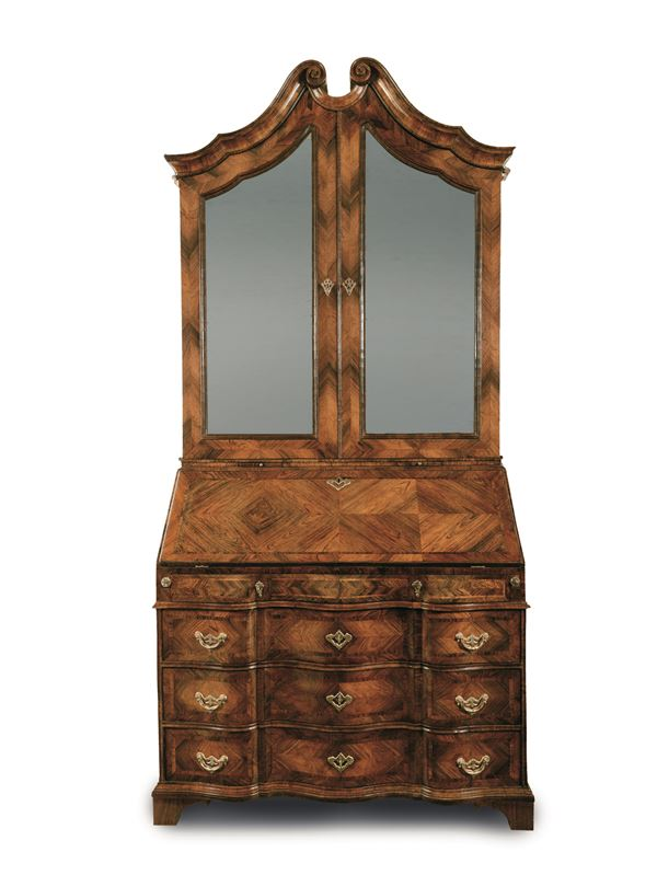A trumeau, veneered in rosewood with bois de rose threading, Genoa, 1740 ca