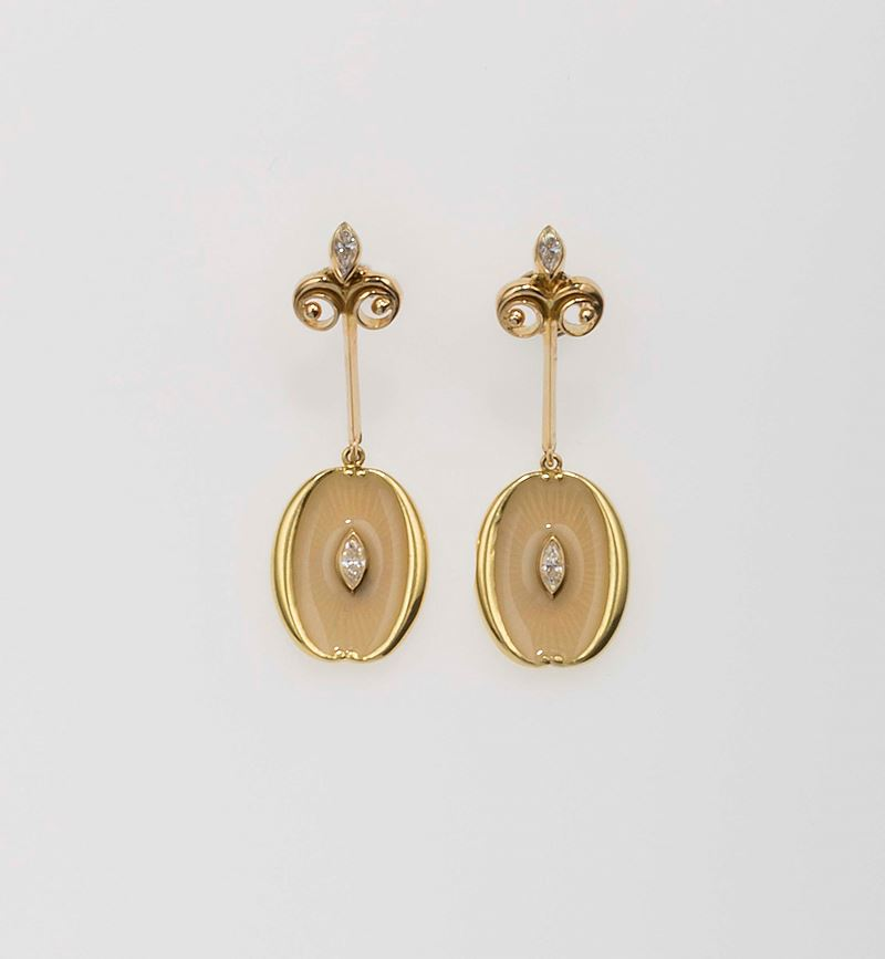Pair of gold, enamel and diamond earrings. Tiffany&Co.  - Auction Fine Jewels - Cambi Casa d'Aste