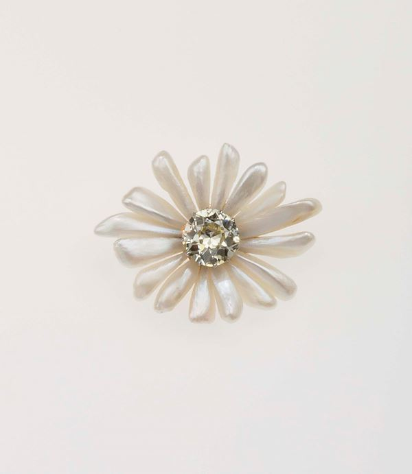 Old-cut diamond and pearl brooch