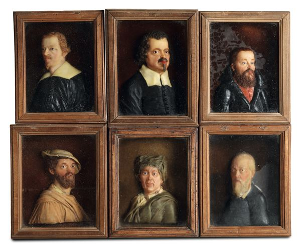 A group of six reliefs in polychrome wax, depicting portraits of painters within fruitwood cases. Caspar  [..]
