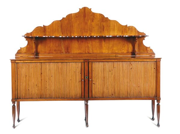 A sideboard with sliding shutters, in cypress wood, top in blonde mahogany and upper part in cherry wood. Neoclassical Senese cabinet-maker, likely on a project by Agostino Fantastici, Siena, first half of the 19th century