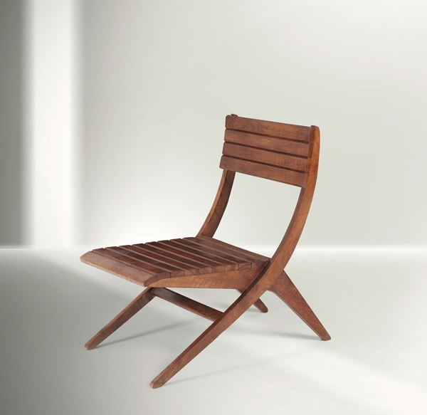 Franco Albini, a study chair with a wooden structure. Italy, 1940 ca. cm 52x75x64