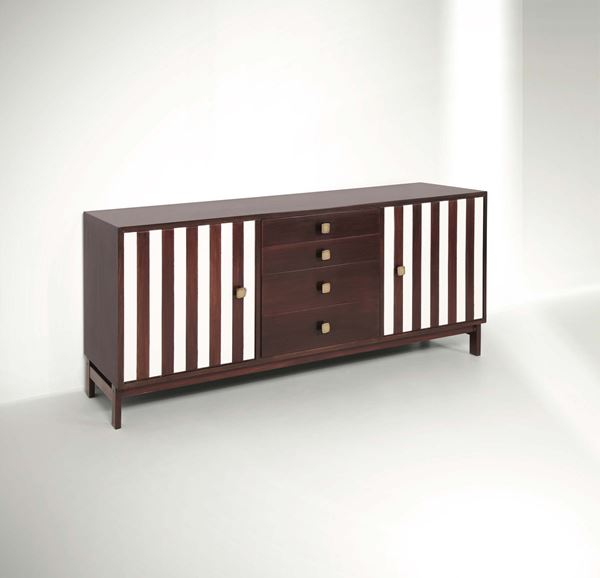 Ettore Sottsass, a rare cabinet in rosewood with lacquered staves and brass knobs. Poltronova production,  [..]