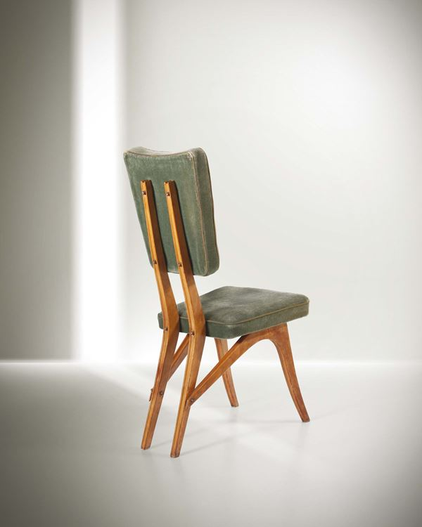 Carlo Mollino, a chair with a wooden structure, brass details and fabric upholstery. A variant in natural  [..]
