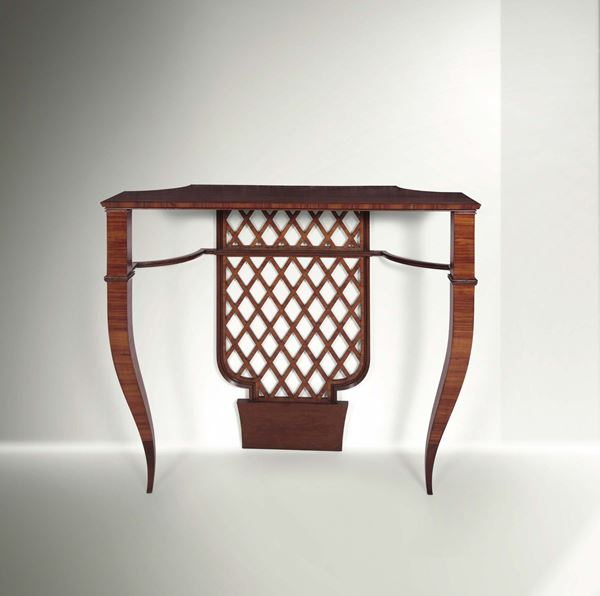 Gio Ponti, a rare console table with a wooden structure and walnut siding. Original certificate Gio Ponti Archives. Italy, 1930 ca. cm 105x100x42