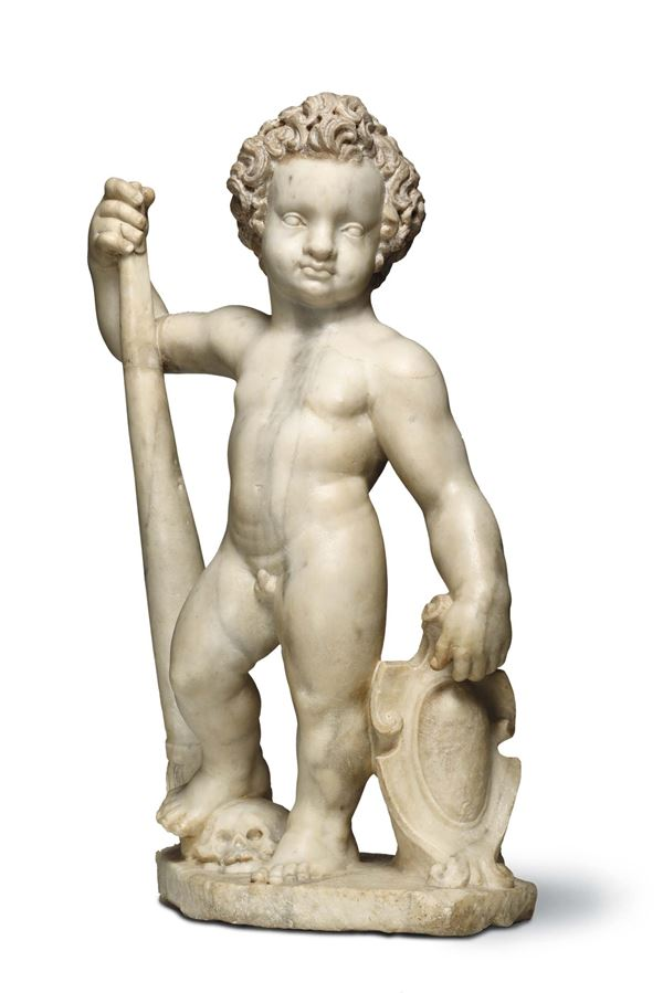 An Erotes in white marble. Renaissance sculptor operating in Liguria around the half of the 16th century
