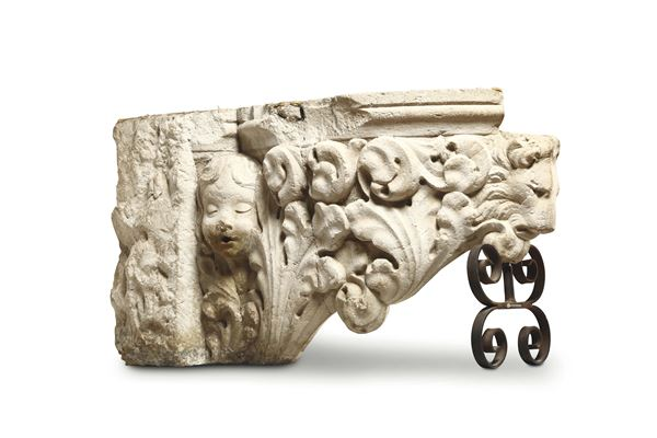 An architectural element (a part of a fountain?) in Istrian stone. 15th century art from Veneto