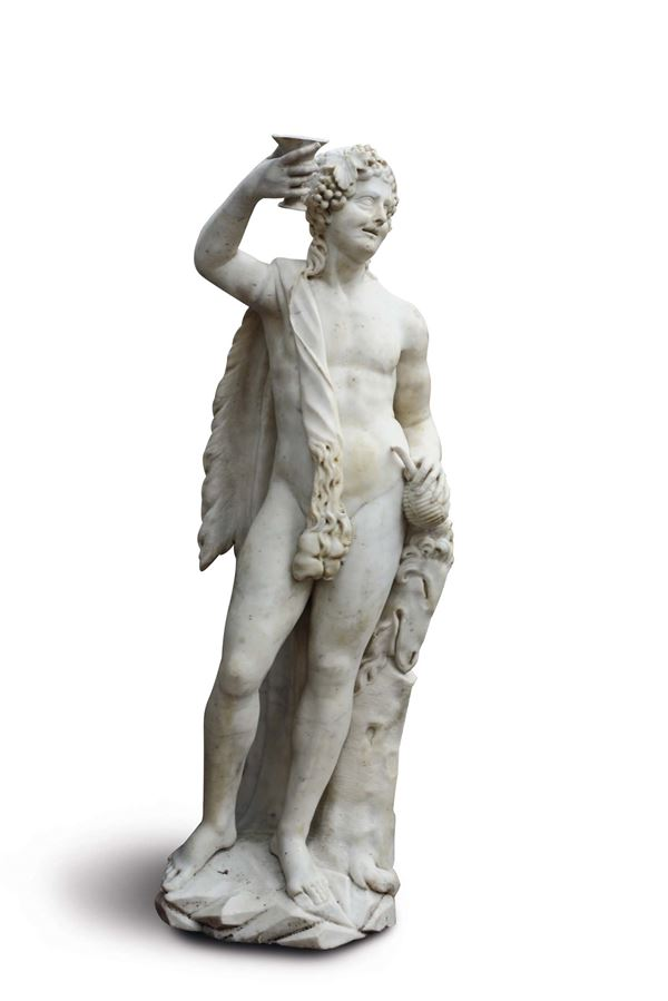 A large sculpture in white marble, depicting an inebriated Bacchus, Genoa, late 16th - early 17th cen [..]