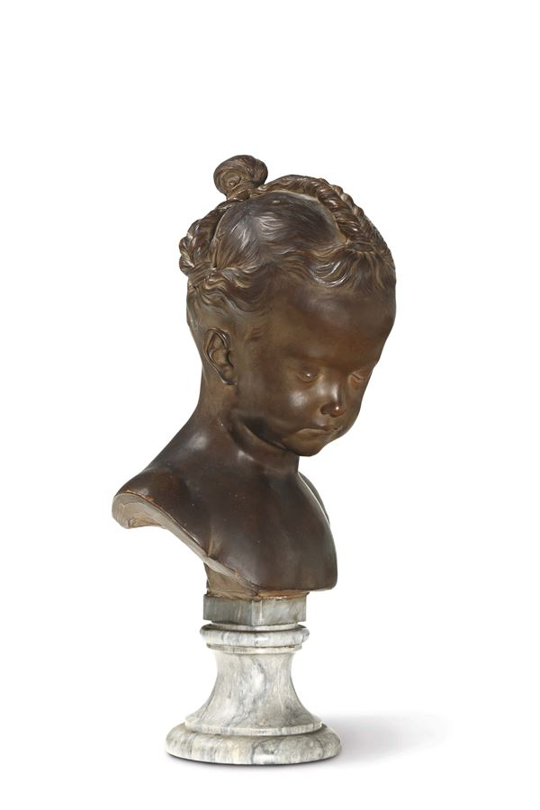 Saly Jacques. La Boudeuse, bust of a young girl in terracotta on a marble base. France 18th-19th century, by Jacques Saly (Valenciennes 1717 - Paris 1776).
