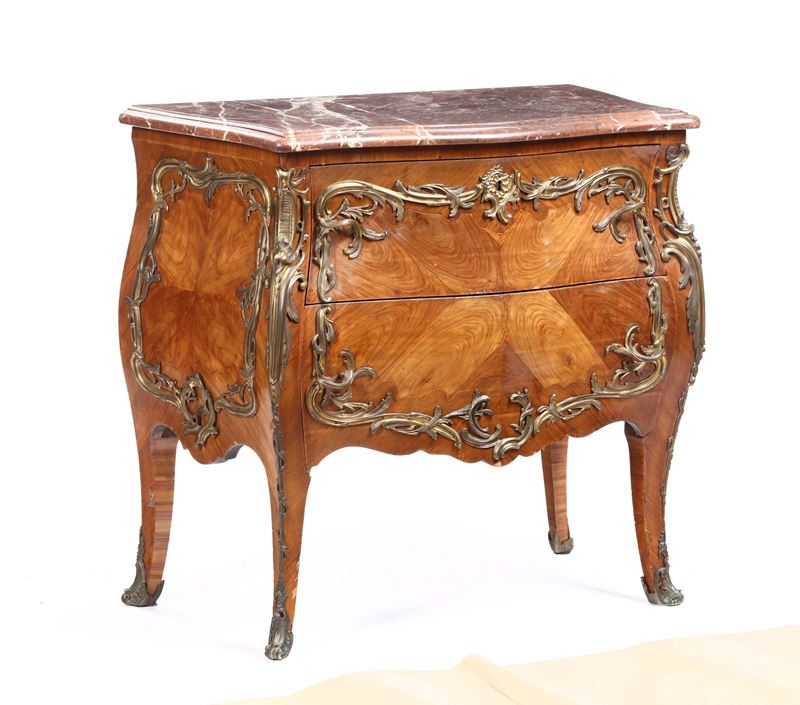Comoncino a due cassetti, Francia, XIX secolo  - Auction Furnitures, Paintings and Works of Art - Cambi Casa d'Aste