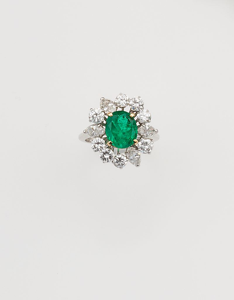 Colombian emerald and diamond ring  - Auction Fine Jewels - Cambi Casa d'Aste