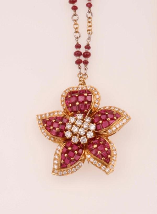 Ruby and diamond necklace. Pendant detachable and can be worn as brooch. Signed Sabbadini